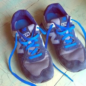 NEW BALANCE 574 suede running shoes men's 5.5 blue